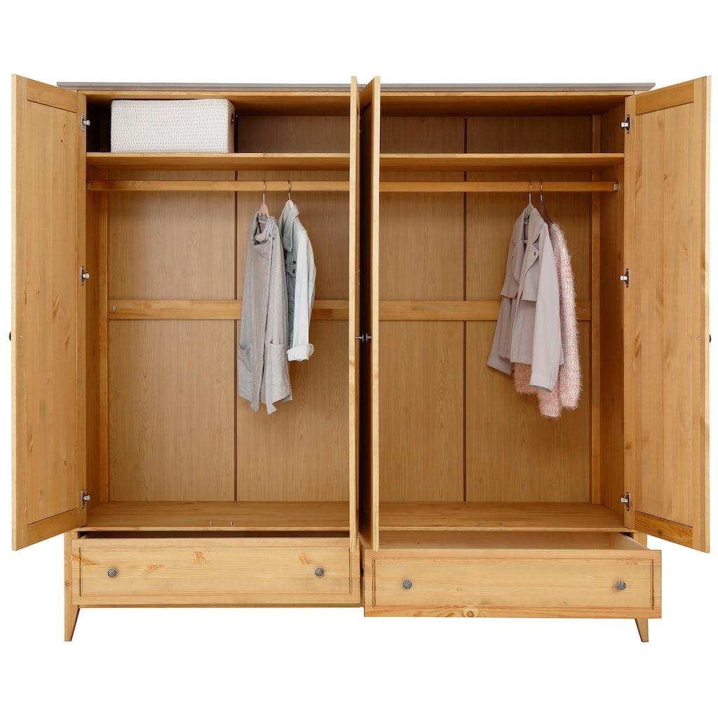 """Home affaire Kleiderschrank »Penny«, Kleiderschrank """"Penny"""" 4 Türen, 2 Schubladen und 2 Kleiderstangen"""