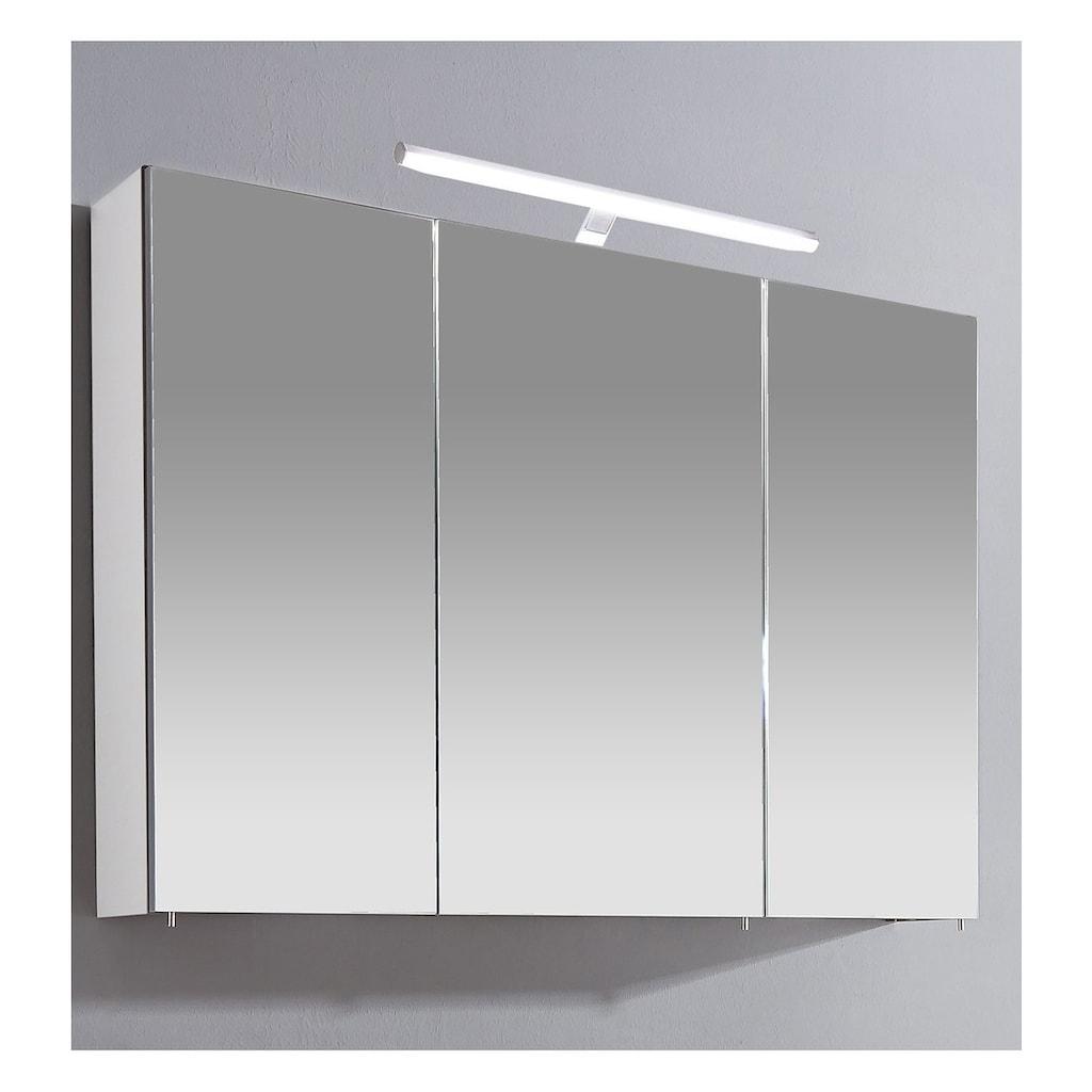 Schildmeyer Spiegelschrank »Irene«, Breite 100 cm, 3-türig, LED-Beleuchtung, Schalter-/Steckdosenbox, Glaseinlegeböden, Made in Germany