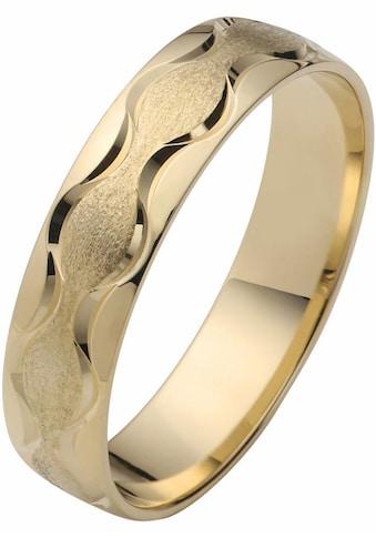 Firetti Trauring mit Gravur »glanz, eismatt, Diamantschnitt in Wellenform, 5,0 mm breit« kaufen