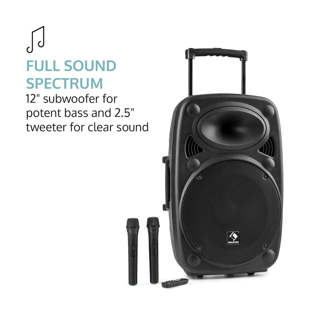 Auna Mobile PA Anlage Bluetooth Lautsprecher Subwoofer Trolley Mikro