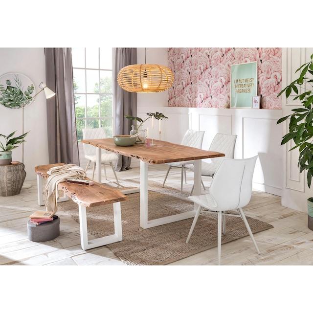 Premium collection by Home affaire Esstisch »Manhattan«, mit Baumkantenoptik und Gestell U-Form aus weißem Metall