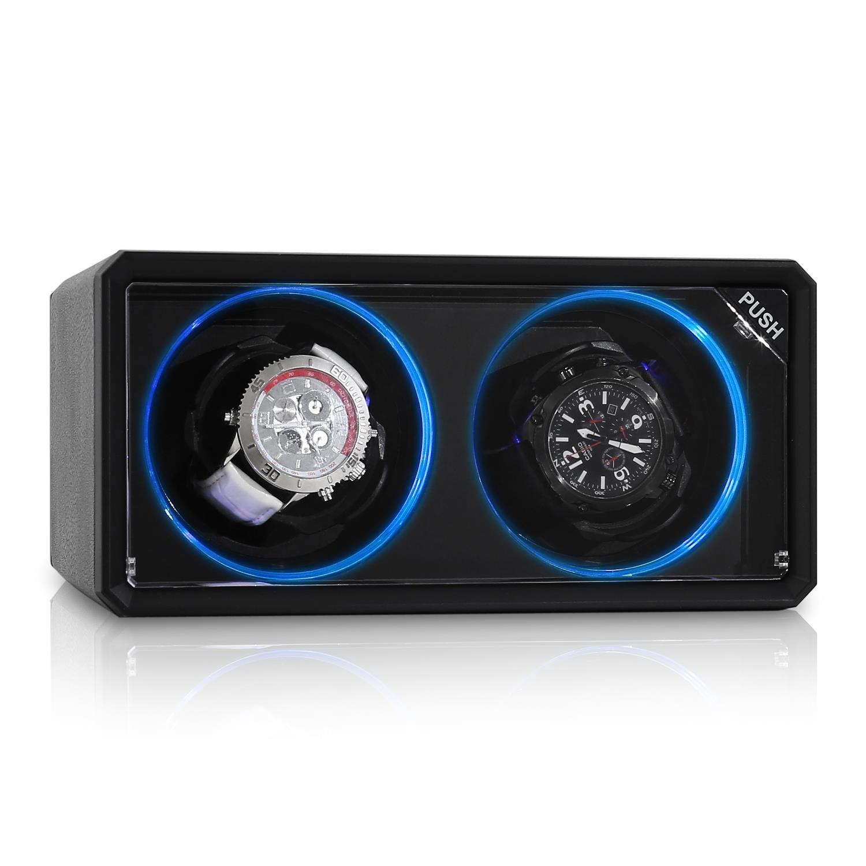 Klarstein Uhrenbeweger Watch Winder Uhrendreher Vitrine Display 2 Uhren »8LED2S« | Uhren > Uhrenbeweger | Schwarz | KLARSTEIN