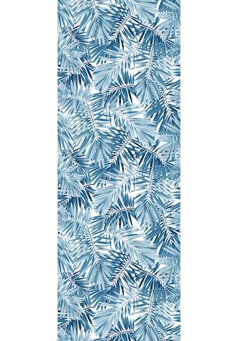 QUEENCE Vinyltapete »Tropische Blätter - Blau«, 90 x 250 cm, selbstklebend kaufen