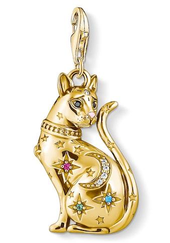 THOMAS SABO Charm-Einhänger »Katze Sternenbild gold, 1838-471-7«, mit Emaille, synth. Korund, Glassteinen und Zirkonia kaufen