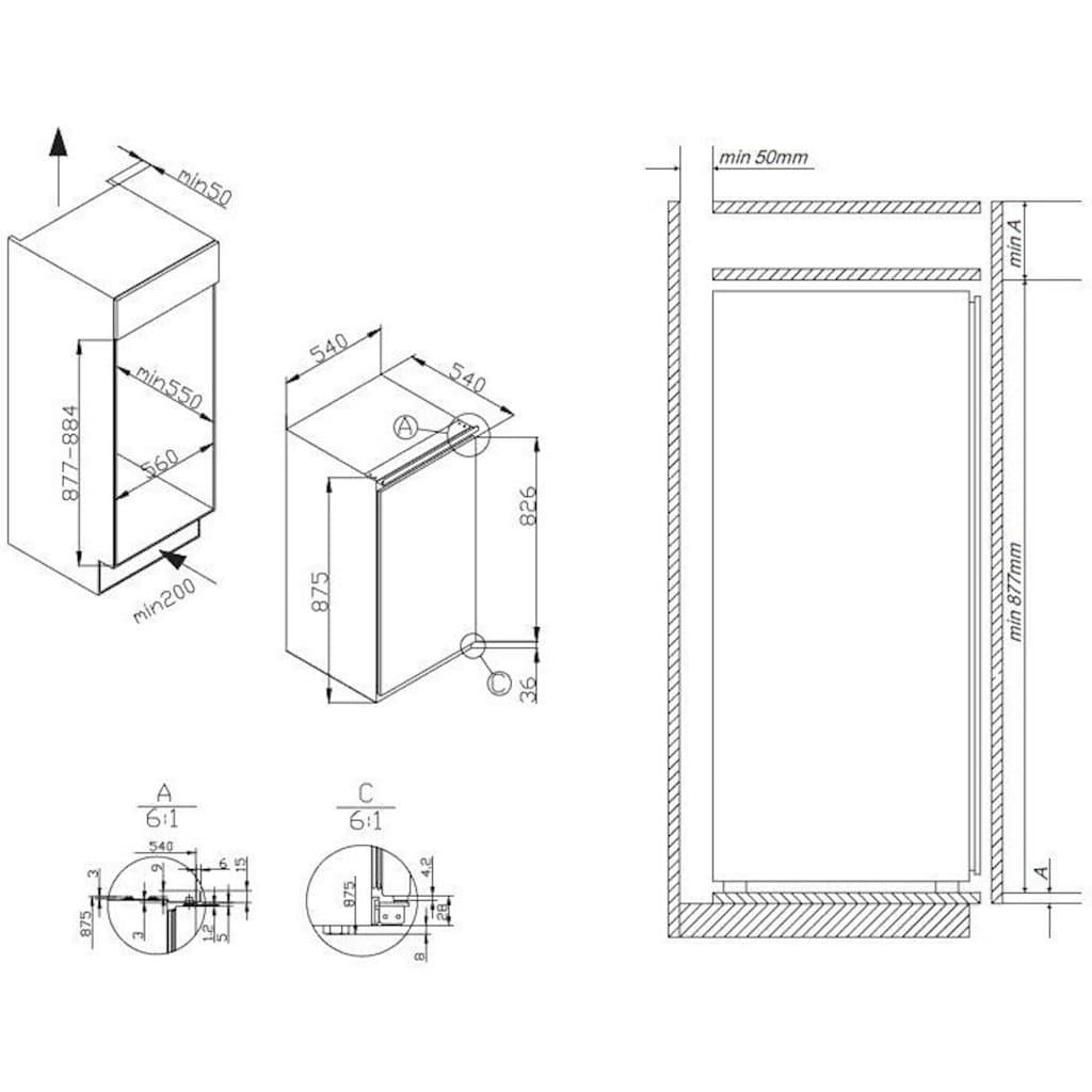 Amica Einbaugefrierschrank »EGS 16173«, 87,5 cm hoch, 54,0 cm breit