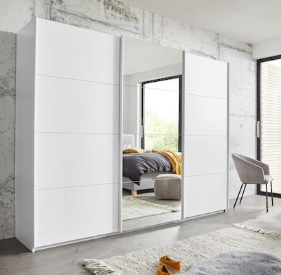 Kleiderschrank in Weiß mit Spiegel