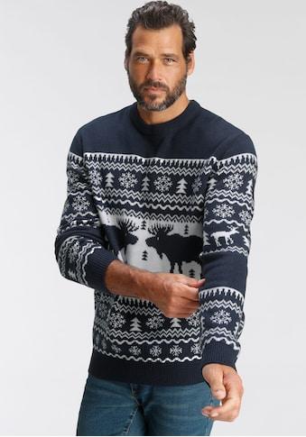 Man's World Rundhalspullover »Wintermotiv« kaufen