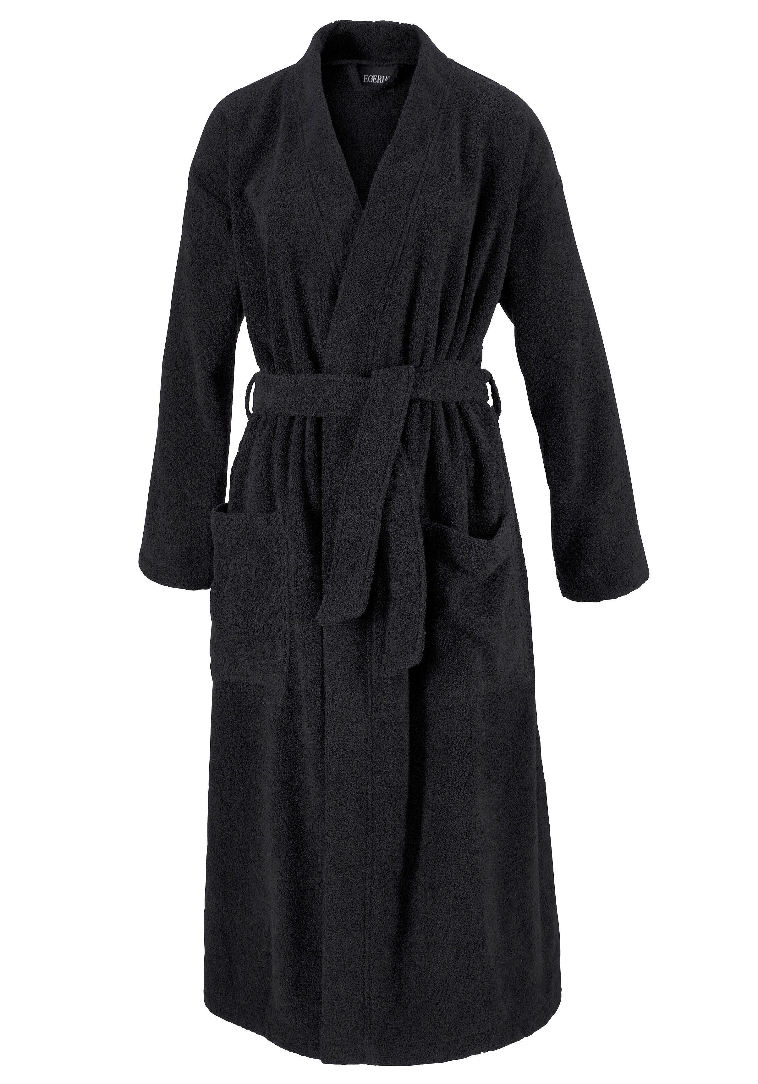 Unisex-Bademantel, Egeria, »Topas«, in Kimonoform | Bekleidung > Bademode > Bademäntel | Schwarz | Baumwolle | EGERIA