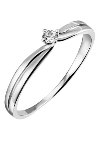 Firetti Diamantring »Solitär, gedrehte Optik, Krappenfassung, Glanz, massiv«, mit Brillant kaufen