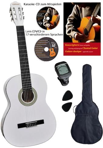 Clifton Konzertgitarre »Konzertgitarrenset White 4/4«, 4/4, Komplettset kaufen