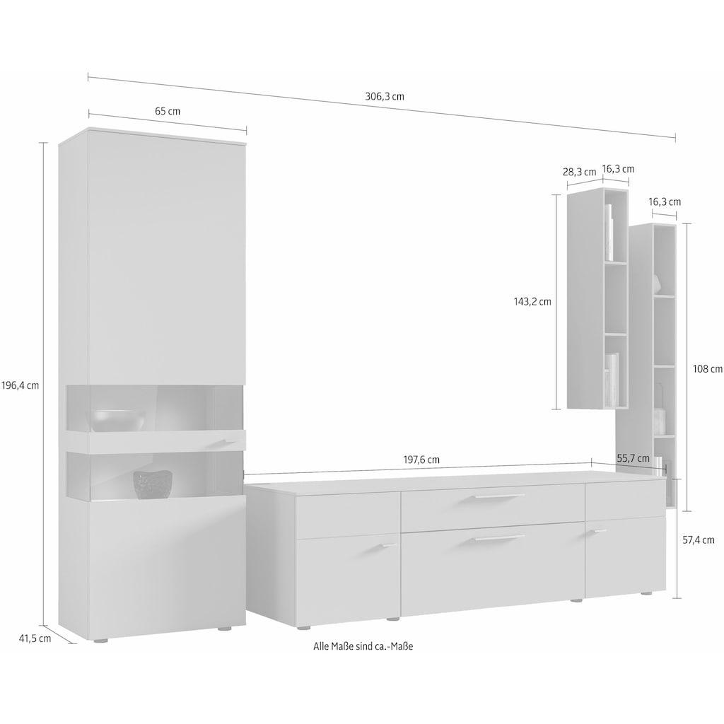 GWINNER Wohnwand »ANZIO«, (Set, 4 St.), in Lack fango, mit zwei Hängeregalen