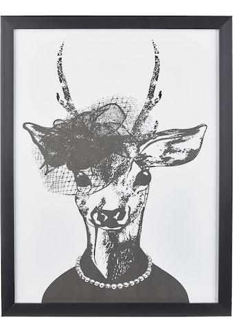 G&C Kunstdruck »Reh-Frau in stillvollen Abendmode«, 33/43 cm, gerahmt kaufen