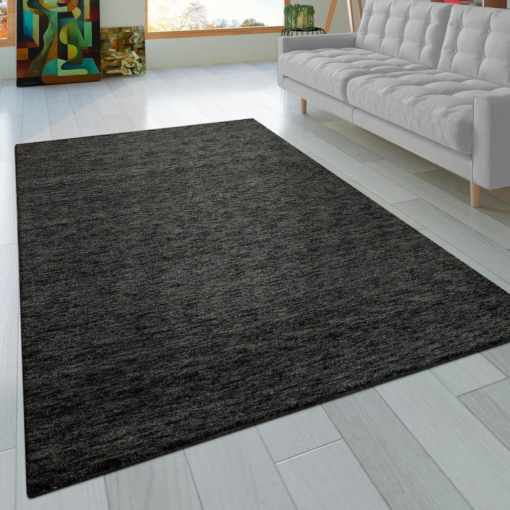 Paco Home Teppich »Atlas 100«, rechteckig, 14 mm Höhe, Kurzflor-Gabbeh, aus Baumwolle Einfarbig, Wohnzimmer