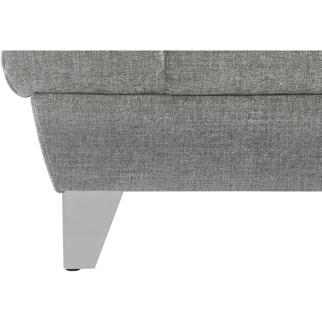 Places of Style Ecksofa »Bardi Luxus«, belastbar bis zu 140 kg, incl. Sitztiefenverstellung, wahlweise mit Kopfteil- und Armlehnverstellung, Bettfunktion und Bettkasten