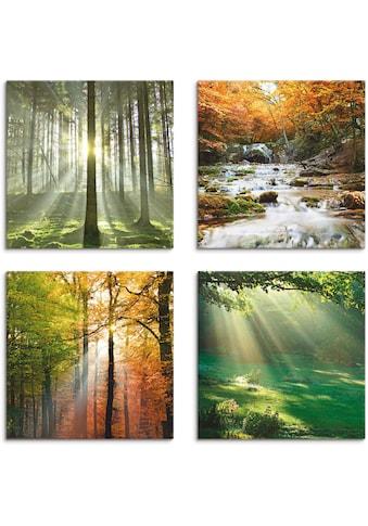 Artland Leinwandbild »Wald Wasserfall Herbsttag«, Wald, (4 St.) kaufen