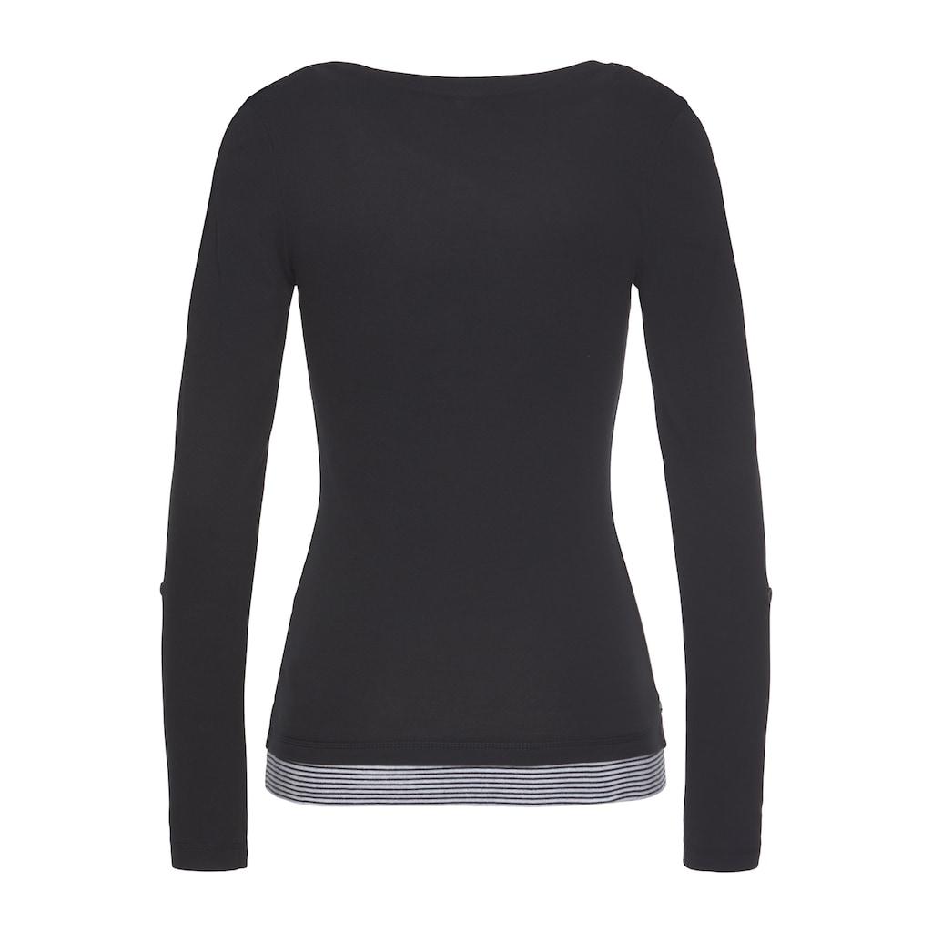 KangaROOS 2-in-1-Shirt, mit geöffneter Zierknopfleiste und Turn-up Ärmeln