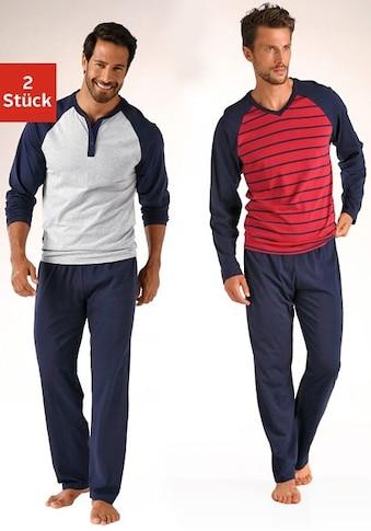 le jogger® Pyjama, (2 Stück), in langer Form, mit Raglanärmeln kaufen