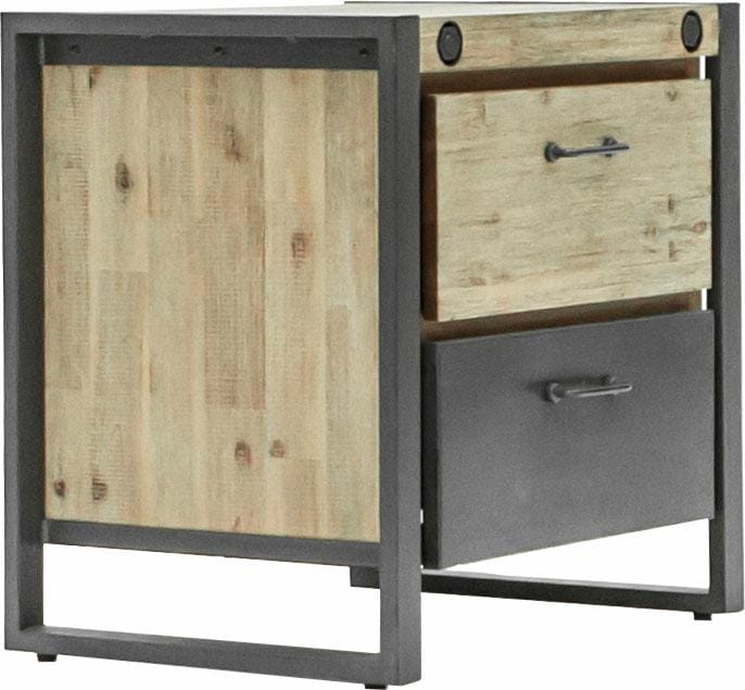 Quadrato Nachttisch »Mirage« mit Metallschrauben als Dekoelement und zwei Schubladen, Breite 60 cm | Schlafzimmer > Nachttische | Braun | Akazienholz - Holz - Sägerau - Wachs | Quadrato
