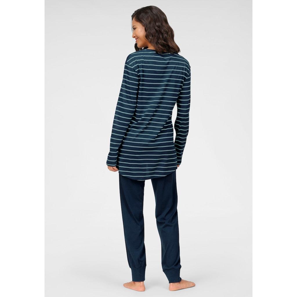 Schiesser Pyjama, mit geringeltem Top
