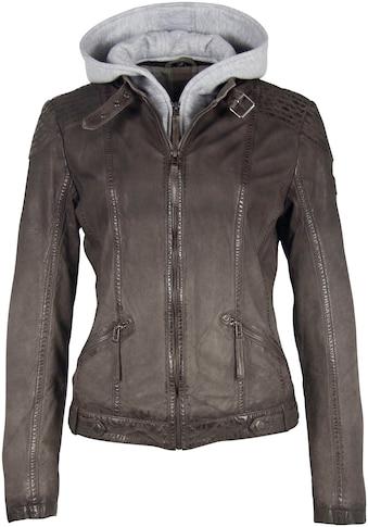 Gipsy Bikerjacke »TIFFY«, coole Lederjacke im dezentem Used-Look mit abnehmbarer Kapuze kaufen