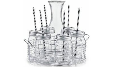 Zeller Present Gläser-Set, (Set, 7 tlg.), Mit Schraubdeckel und Strohhalmen kaufen