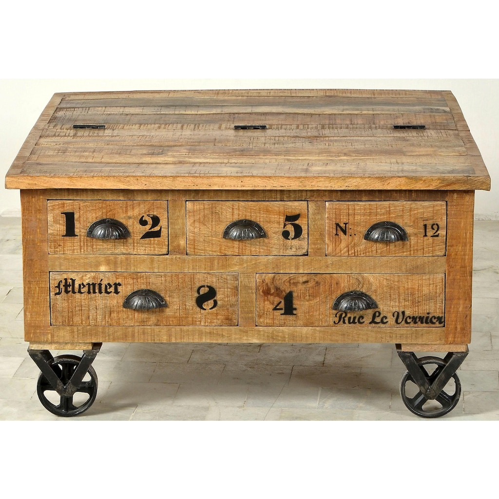 SIT Couchtisch »Rustic«, Rustic», im factory design, Breite 90 cm, Shabby Chic, Vintage, quadratisch