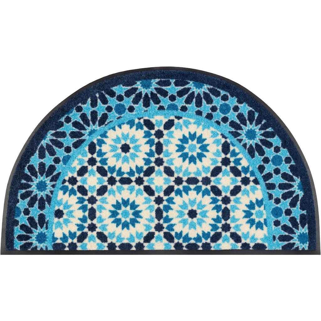 wash+dry by Kleen-Tex Fußmatte »Round Oriental«, halbrund, 7 mm Höhe, Schmutzfangmatte, In- und Outdoor geeignet, waschbar