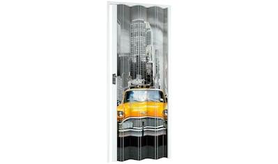 Kunststoff - Falttür »NY - Skyline«, BxH: 88,5x202 cm, Weiß mit Motivdruck kaufen