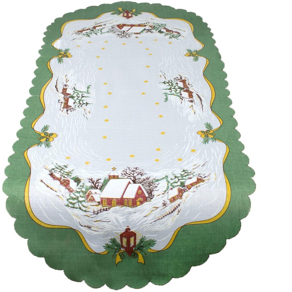 Delindo Lifestyle Tischläufer »Weihnachtskirche«, gedrucktes Design, blickdichter Stoff