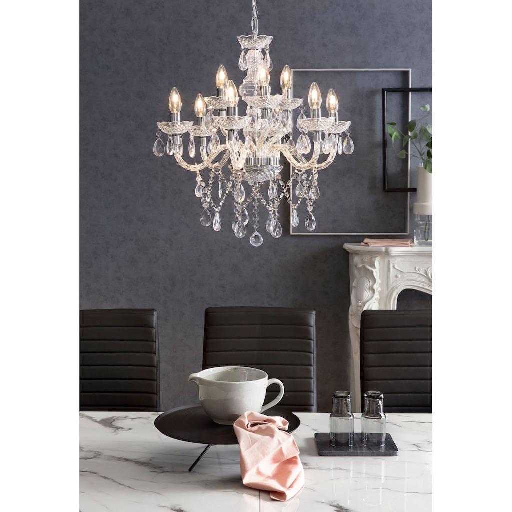 SalesFever Kronleuchter »Matteo«, E14, 9 Flammen aus transparentem Acryl-Glas