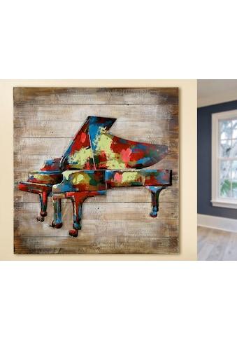 GILDE GALLERY Metallbild »Kunstobjekt Klavier«, Instrumente, (1 St.), handgearbeitetes 3D-Bild, 80x80 cm, aus Metall, Motiv Klavier, Wohnzimmer kaufen