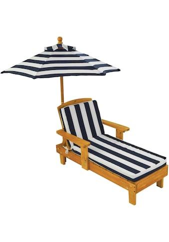 KidKraft® Kinderklappstuhl »Liegestuhl mit Sonnenschirm, weiß-blau« kaufen