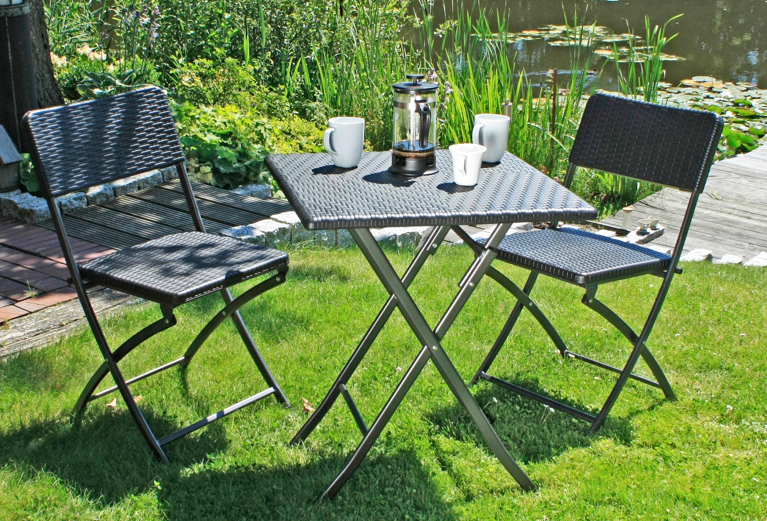 Tisch Klappbar Kunststoff.Garden Pleasure Gartenmöbelset Ventana 3 Tlg 2 Stühle Tisch Klappbar Kunststoff