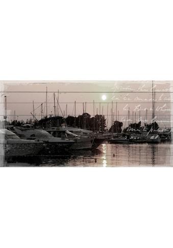 QUEENCE Holzbild »Boote im Haafen«, 40x80 cm Echtholz kaufen