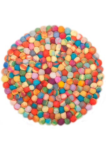 THEKO Wollteppich »Ballo«, rund, 22 mm Höhe, Filzkugel-Teppich, reine Wolle, handgefertigt, Wohnzimmer kaufen
