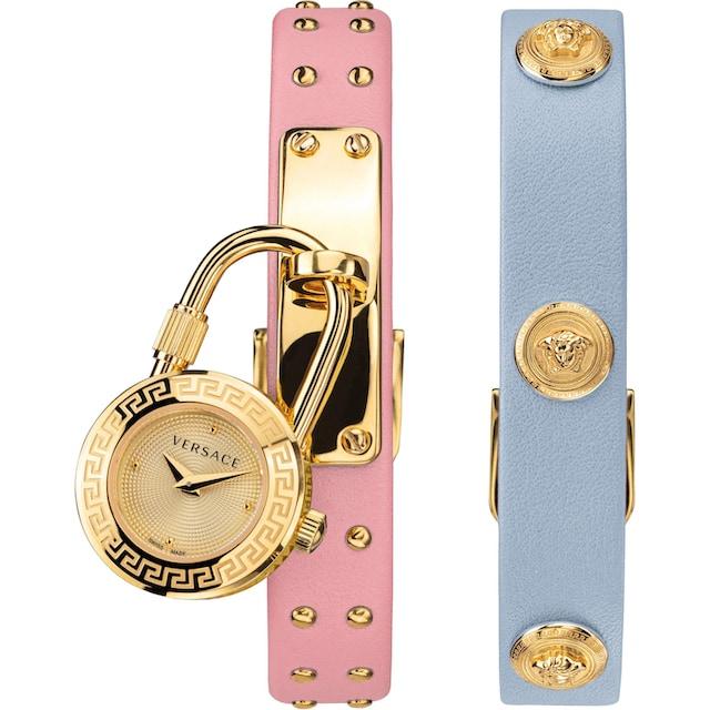 Versace Schweizer Uhr »Medusa Lock Icon, VEDW00219« (Set, 3 tlg., mit zusätzlichem Lederband)