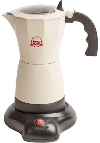 bestron Espressokocher »AES550RE Vintage«, Permanentfilter, mit Basis, 6 Espressotassen, 480 Watt, Aluminium, Beige kaufen