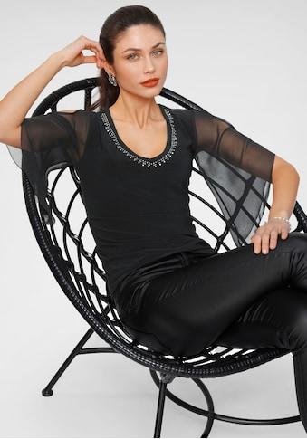 Melrose Blusenshirt, mit Chiffon-Ärmel und Glitzersteinen - kaufen