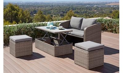 KONIFERA Gartenmöbelset »Lagos«, (10 tlg.), 2er-Sofa, 2 Hocker,Tisch 111x32,5-63 cm,... kaufen