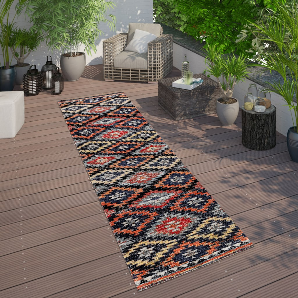 Paco Home Läufer »Artigo 405«, rechteckig, 11 mm Höhe, Teppich-Läufer, Kurzflor, gewebt, In- und Outdoor geeignet, Rauten-Muster
