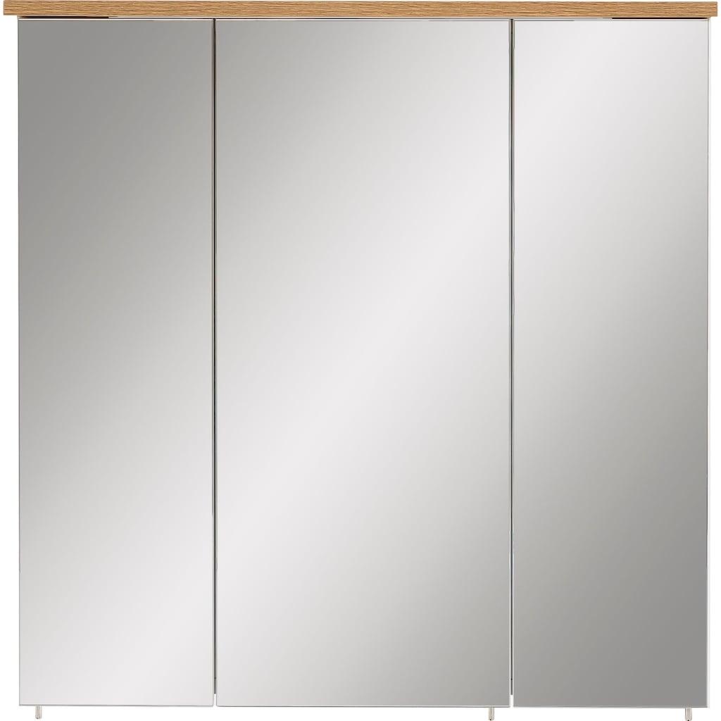 Schildmeyer Spiegelschrank »Profil«, Breite 70 cm, 3-türig, eingelassene LED-Beleuchtung, Schalter-/Steckdosenbox, Glaseinlegeböden, Made in Germany