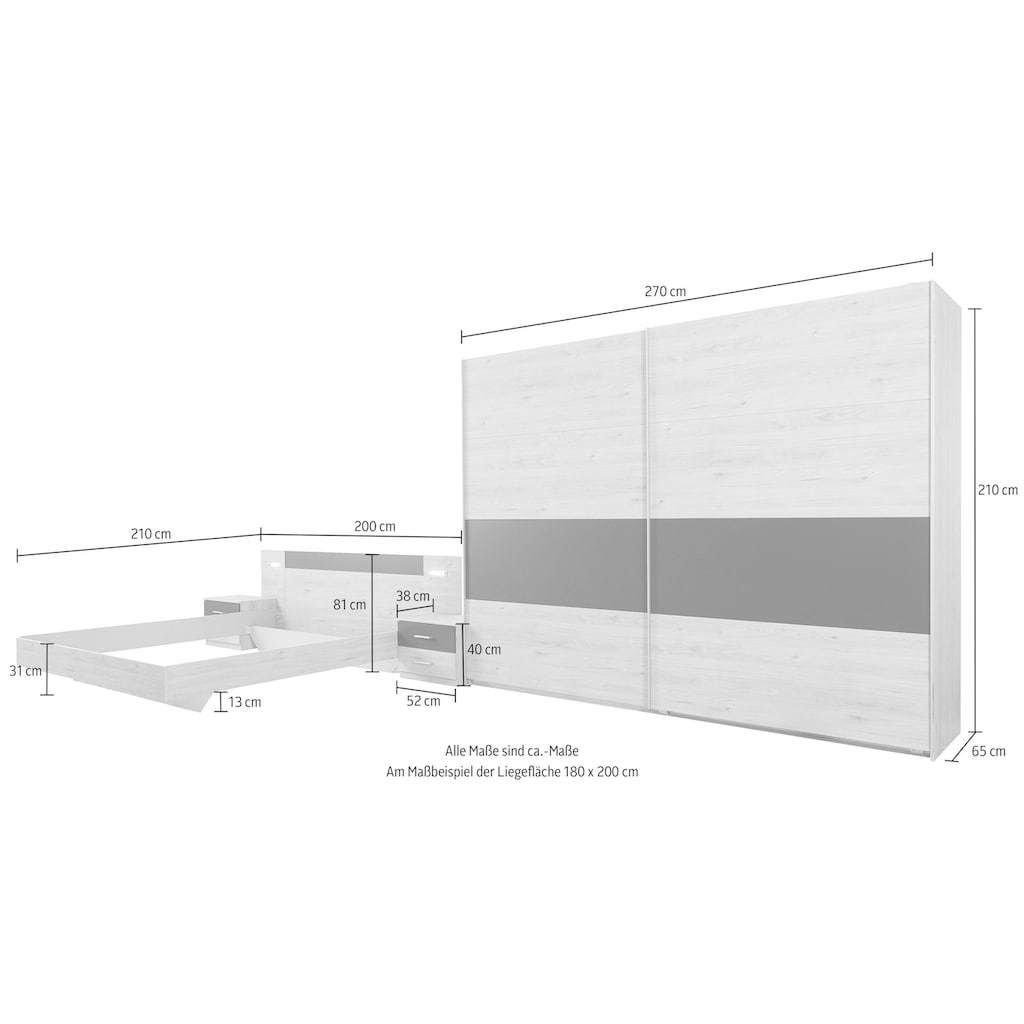 Wimex Schlafzimmer-Set »Angie«, (Set, 4 tlg.)