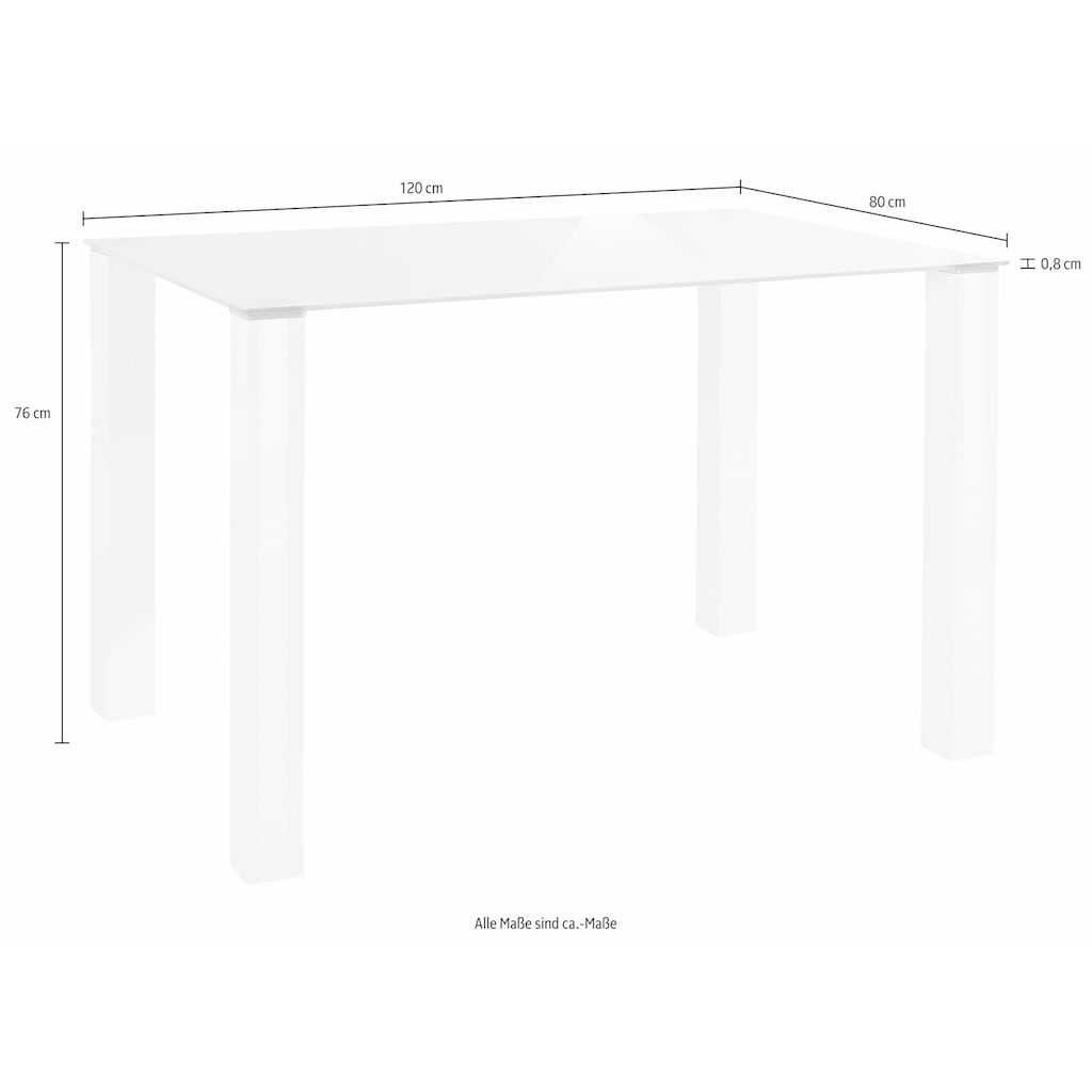 my home Essgruppe, (Set, 5 tlg.), mit Glastisch, Breite 120 cm