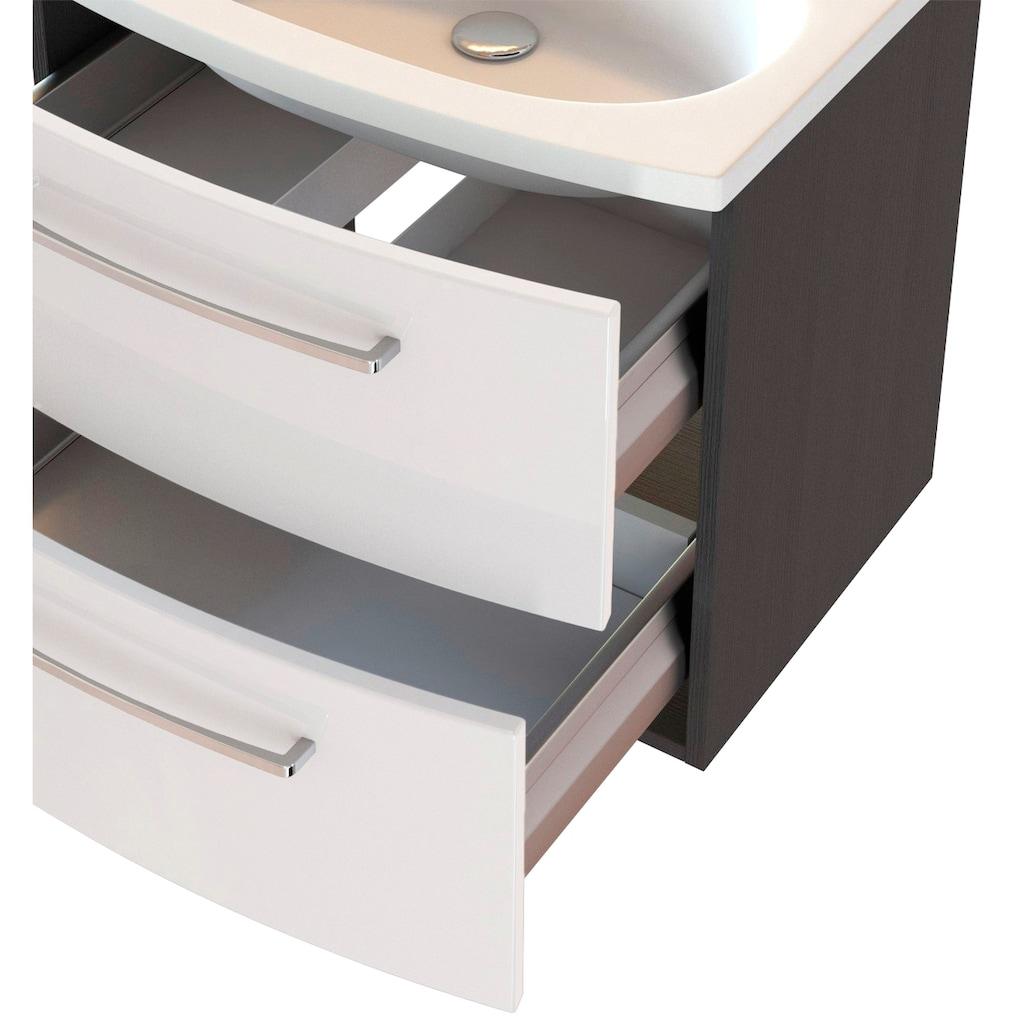 HELD MÖBEL Badmöbel-Set »Catania«, (2 St.), mit 3D-Spiegelschrank und gebogenes Mineralgussbecken