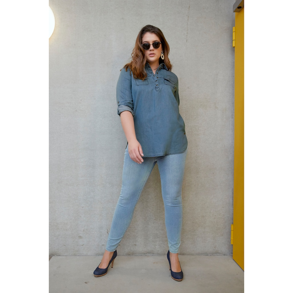 Arizona Jeansbluse »Krempelärmel mit Riegel«, im Tunikastil
