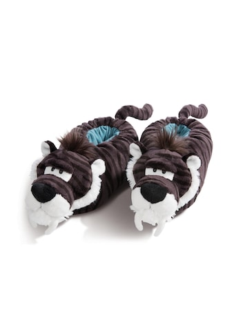 Nici Plüsch Hausschuhe »Säbelzahntiger«, mit Tiger-Muster kaufen