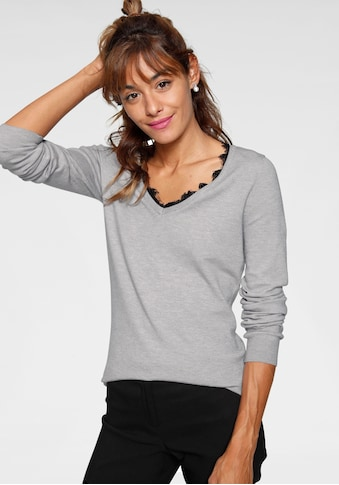 AJC V-Ausschnitt-Pullover, mit Spitzenkante am Ausschnitt kaufen