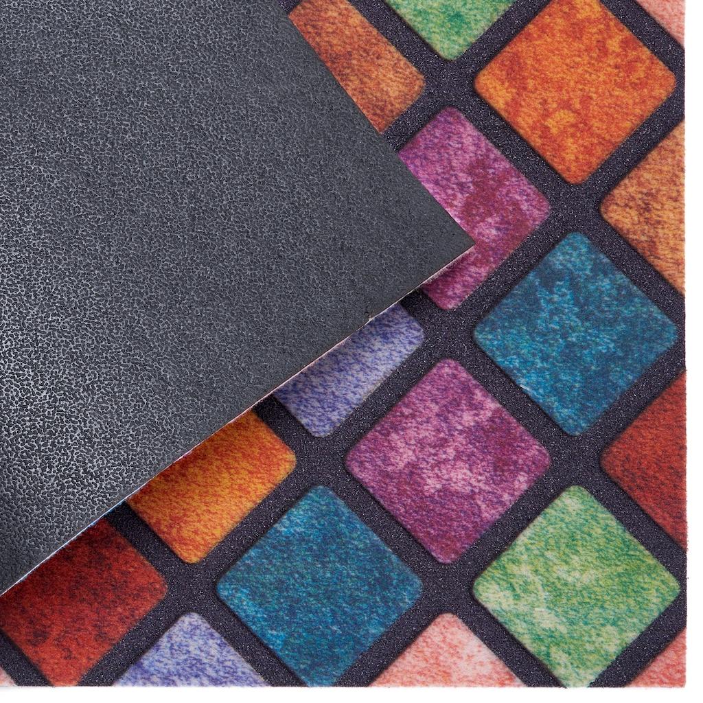 my home Fußmatte »Welcome karo«, rechteckig, 6 mm Höhe, Schmutzfangmatte, mit Spruch, In- und Outdoor geeignet