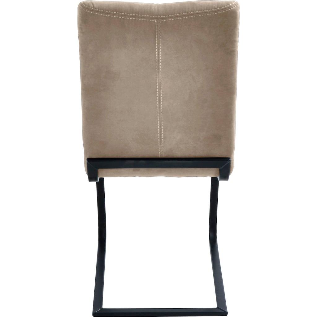 K+W Komfort & Wohnen Freischwinger »Floyd«, mit dekorativer Kontrastnaht, Freischwingergestell aus Vierkantrohr Roheisen schwarz, Vintage-Optik