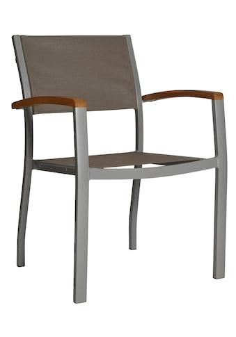 MERXX Gartenstuhl »Monaco«, 2er Set, Aluminium/Textil/Akazie, stapelbar, grau kaufen